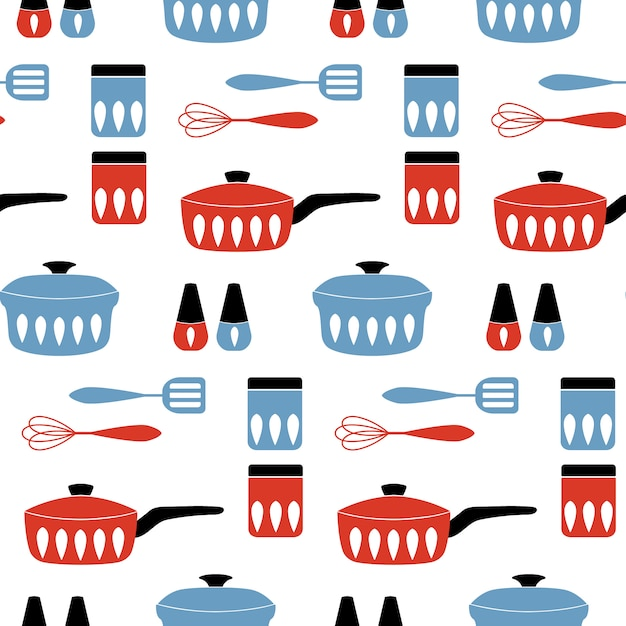 Seamless pattern with cookware. Premium Vector
