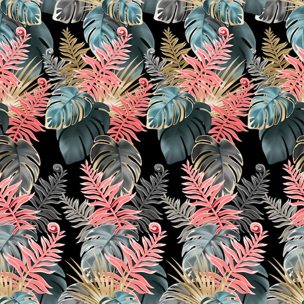 Seamless pattern with coral and dark leaves. Premium Vector
