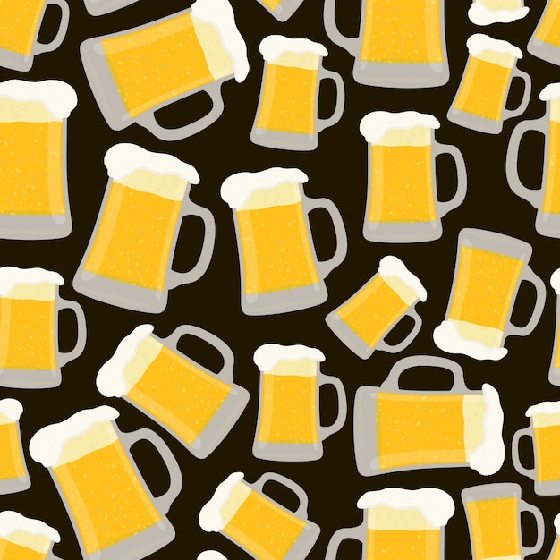 Seamless pattern with cup of beer Premium Vector