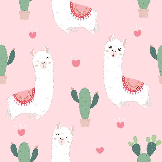 Seamless pattern with cute alpacas and cactus. Premium Vector