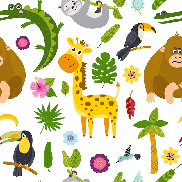 Seamless pattern with cute animals from the jungle Premium Vector