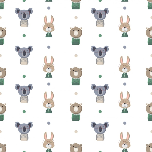 Seamless pattern with cute animals Premium Vector