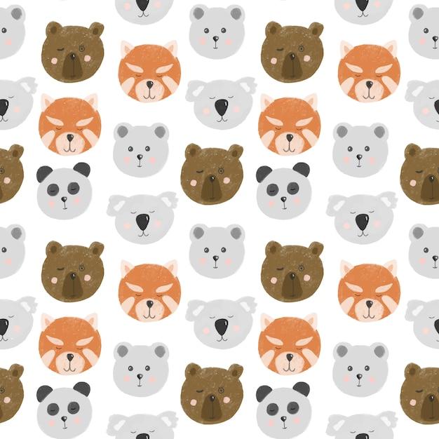 귀여운 곰 얼굴 원활한 패턴 (곰, 북극곰, 팬더, 레드 팬더, 코알라) 프리미엄 벡터