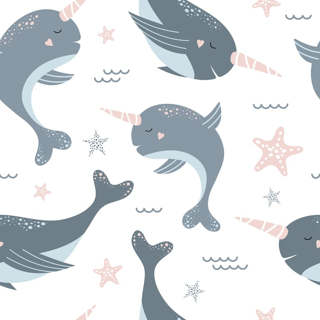 Seamless pattern with cute blue narwhals and starfish. Premium Vector