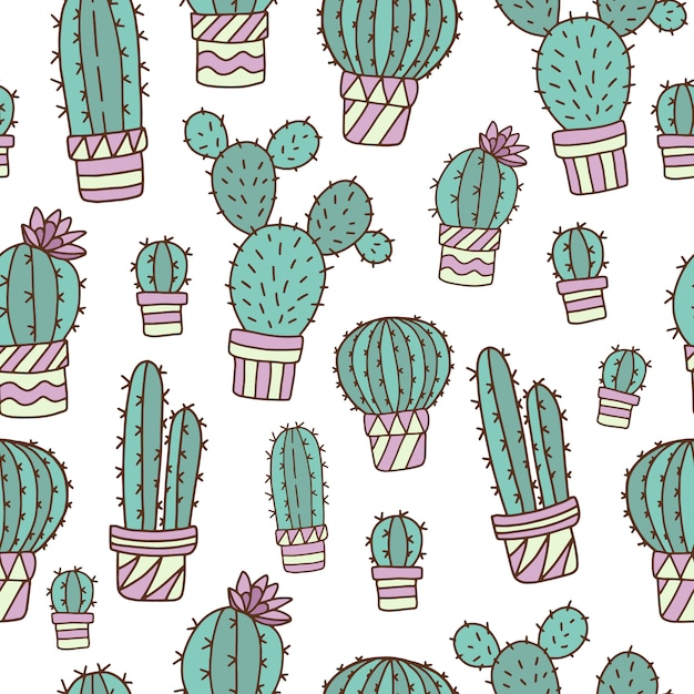 Seamless pattern with cute cacti Premium Vector