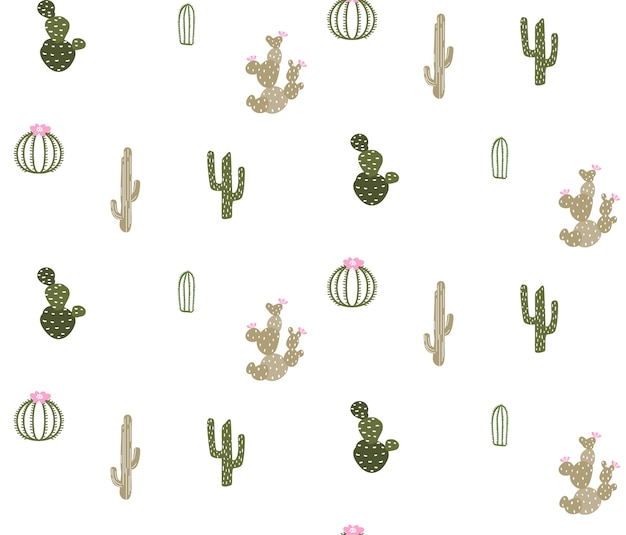 Seamless pattern with cute cactus Premium Vector
