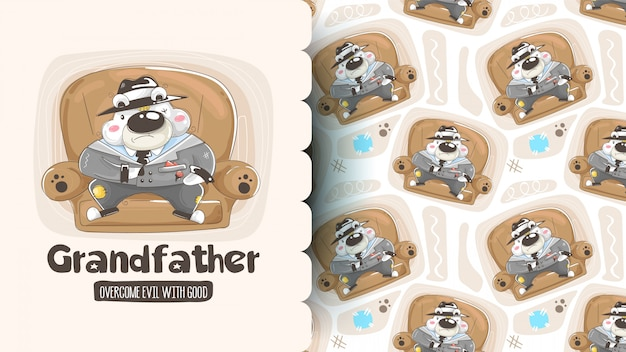 Seamless pattern with cute cartoon bears: panda, brown bear and polar bear holding hearts. vector background. Premium Vector