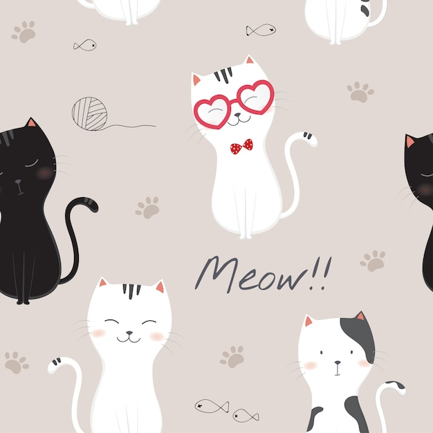 Seamless pattern with cute cartoon cats. Premium Vector
