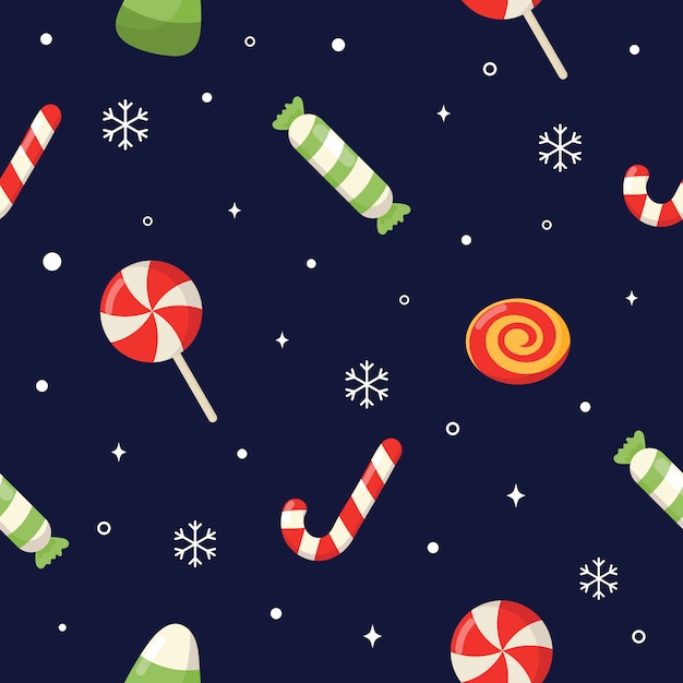 Seamless pattern with cute cartoon christmas candy isolated on blue background. Premium Vector