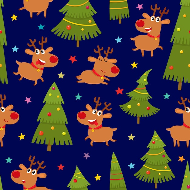 Seamless pattern with cute cartoon reindeers and christmas tree Premium Vector