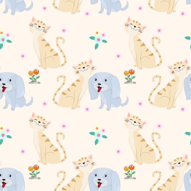 Seamless pattern with cute cat and dog fabric textile Premium Vector