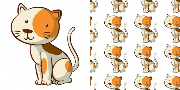 Seamless pattern with cute cat Free Vector