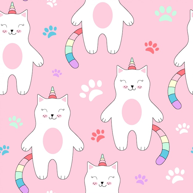 Seamless pattern with cute cats unicorn. Premium Vector