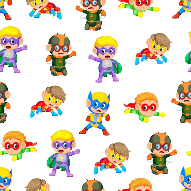 Seamless pattern with cute children Premium Vector