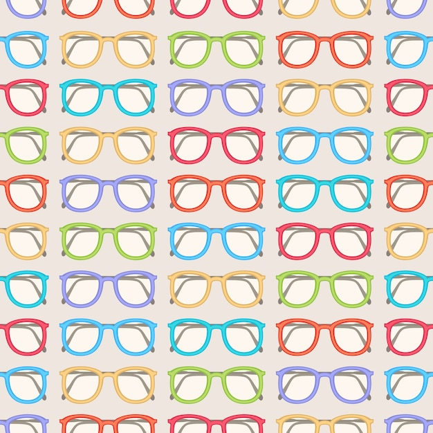 Seamless pattern with cute colored glasses Premium Vector