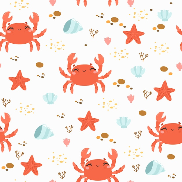 Seamless pattern with cute crab and sea stones Free Vector