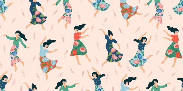 춤추는 여자와 귀여운 완벽 한 패턴입니다. 국제 여성의 날 및 기타 용도에 대한 개념. 프리미엄 벡터