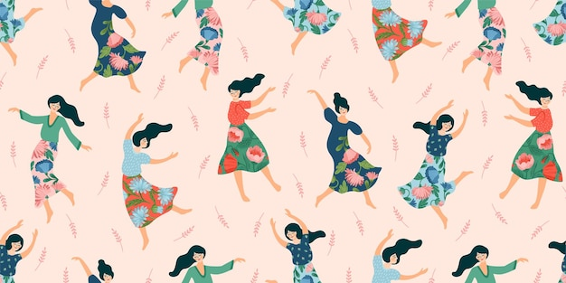 Seamless pattern with cute dancing women. concept for international women s day and other use. Premi