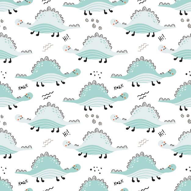 Seamless pattern with cute dinosaurs. Premium Vector