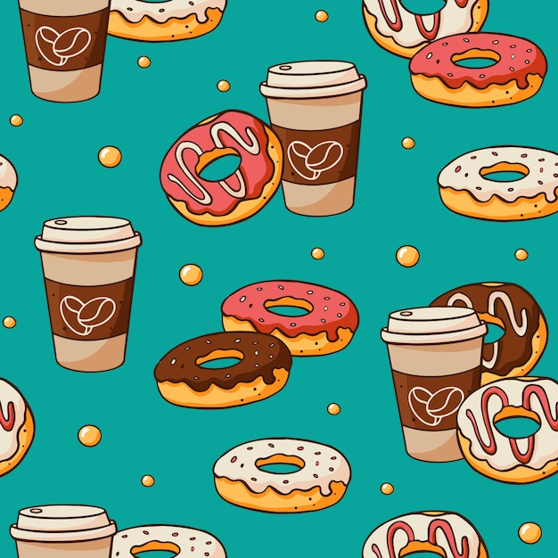 Seamless pattern with cute doodle hand drawn elements Premium Vector