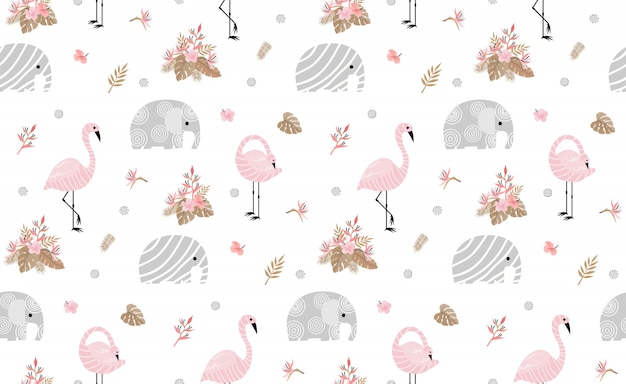 Seamless pattern with cute elephants Premium Vector