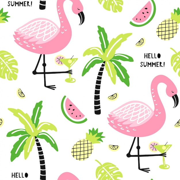 Seamless pattern with cute flamingo, palm Premium Vector