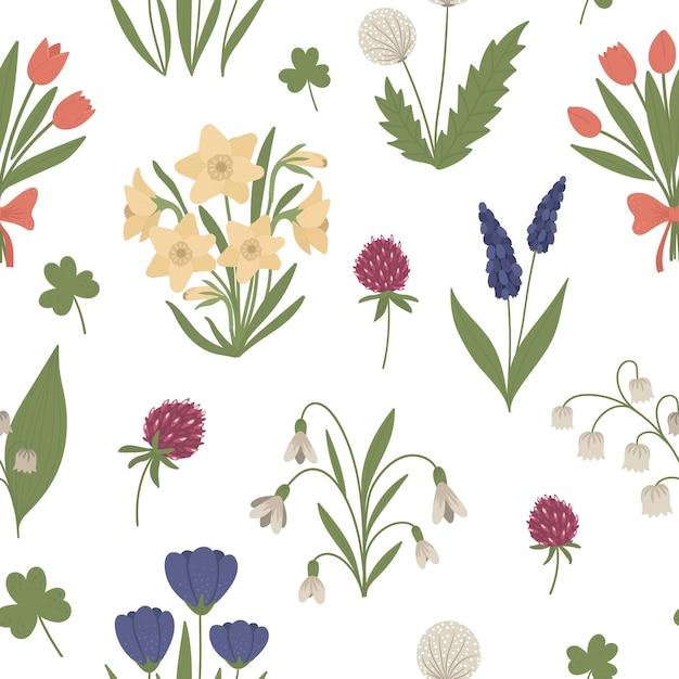 Бесшовные модели с милыми плоскими весенними цветами. фон первые цветущие растения. цветочная цифровая бумага. Premium векторы