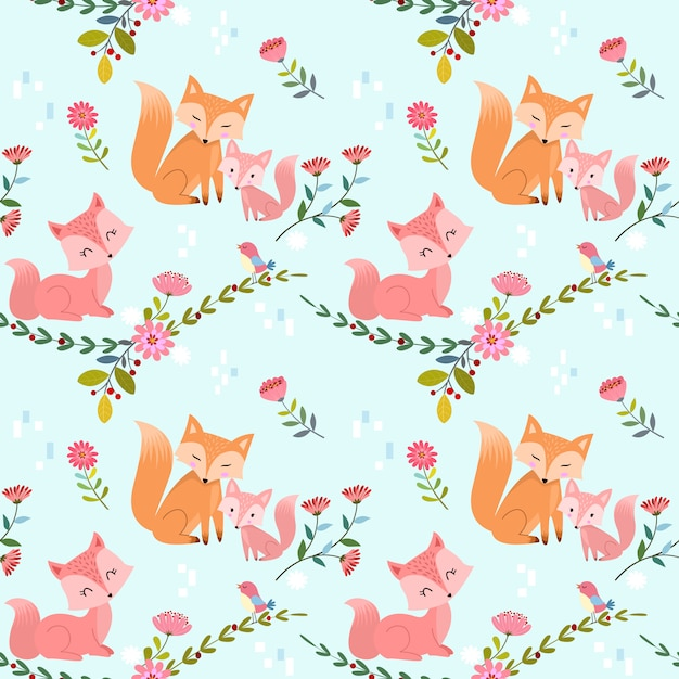 Seamless pattern with cute foxes and flowers vector design Premium Vector