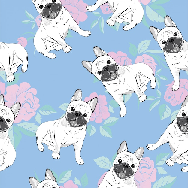 Seamless pattern with cute french bulldog Premium Vector