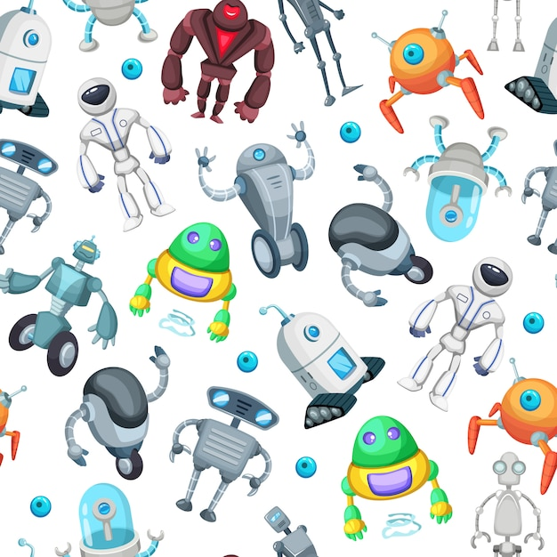 Seamless pattern with cute funny robots. vector pictures in cartoon style. robot cartoon seamless pattern illustration Premium Vector