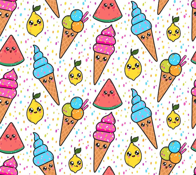 Seamless pattern with cute ice creams, lemons, and watermelons in japan kawaii style. happy cartoon characters with funny faces illustration. Premium Vector