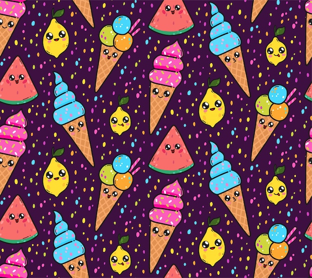 Seamless pattern with cute ice creams, lemons, and watermelons in japan kawaii style. Premium Vector