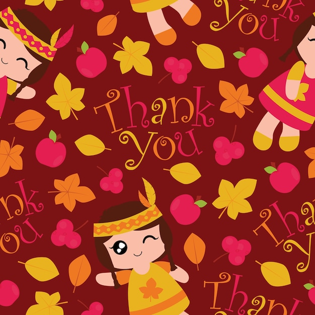 Seamless Pattern With Cute Indian Girls Apples And Maple