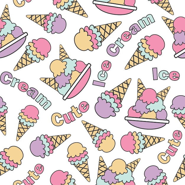Pattern Cute Colorful Ice Cream Textiles Stock Vector: Seamless Pattern With Cute Kawaii Ice Creams Vector