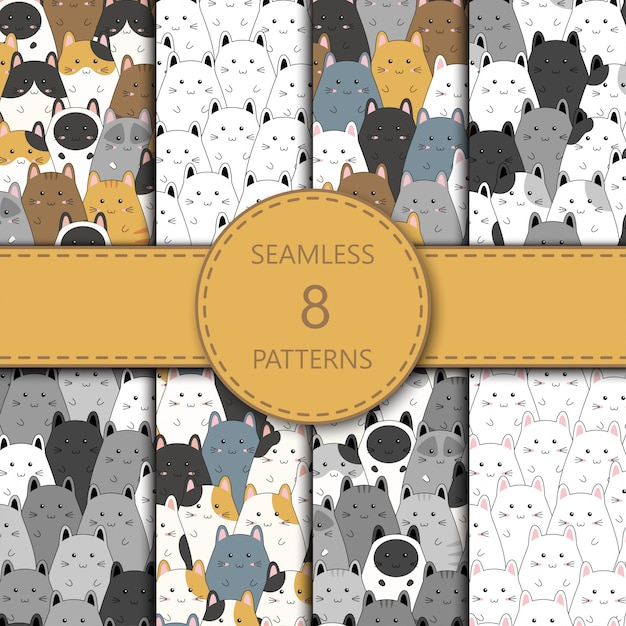 Seamless pattern with cute kitten family cartoon,  illustration Premium Vector