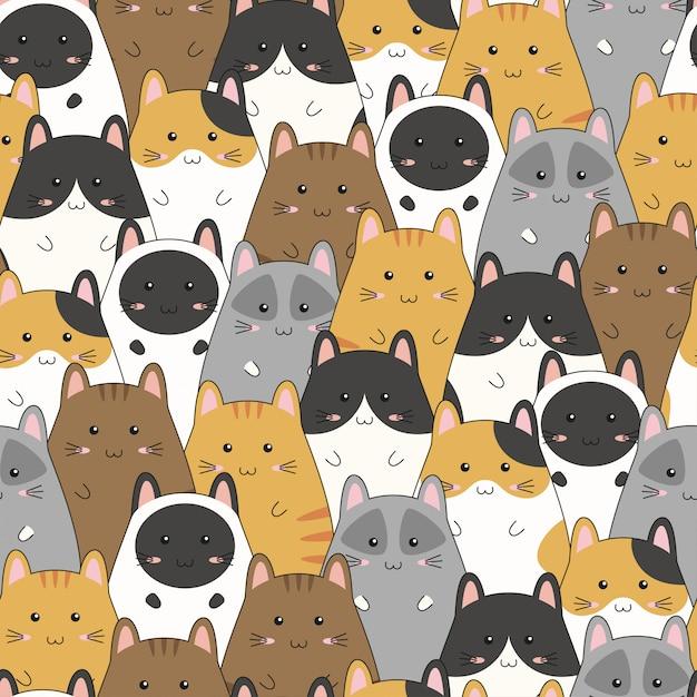 Seamless pattern with cute kitten family cartoon, vector illustration Premium Vector
