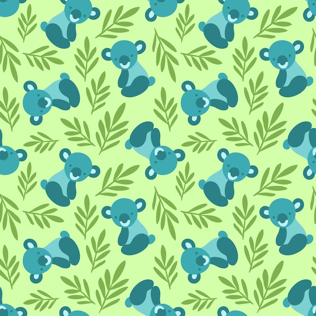 Seamless pattern with cute koala bears and leaves. Premium Vector