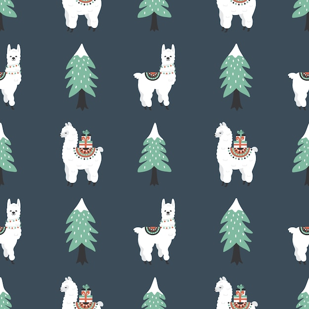 Seamless pattern with cute lamas, gift boxes and christmas tree. Premium Vector