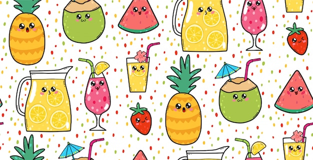 Seamless pattern with cute lemonades, strawberries, watermelons, and cocktails in japan kawaii style. happy cartoon characters with funny faces illustration. Premium Vector
