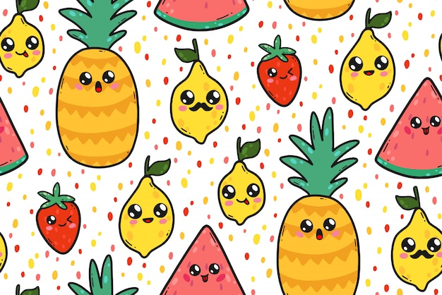 Seamless pattern with cute lemons, watermelons, and strawberries in japan kawaii style. happy cartoon fruit characters with funny faces illustration. Premium Vector