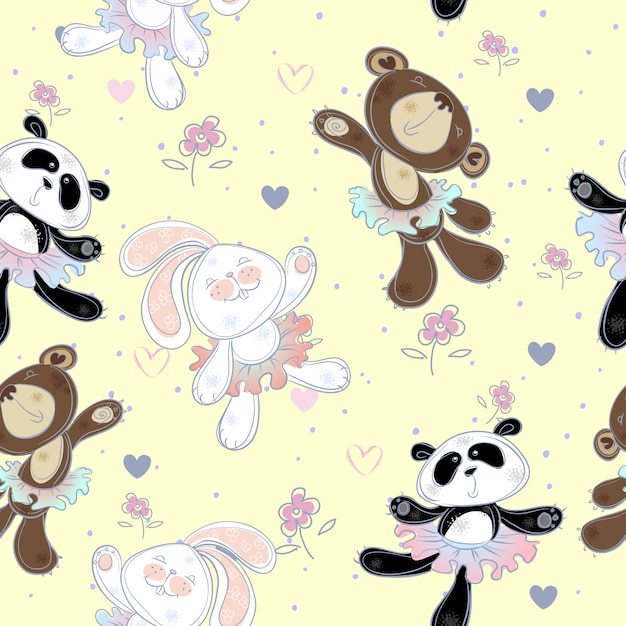 Seamless pattern with cute little animals . the bunny the bear and panda. ballerinas Premium Vector