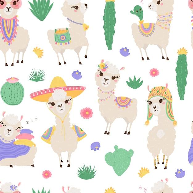 Seamless pattern with cute llamas and cacti. Premium Vector