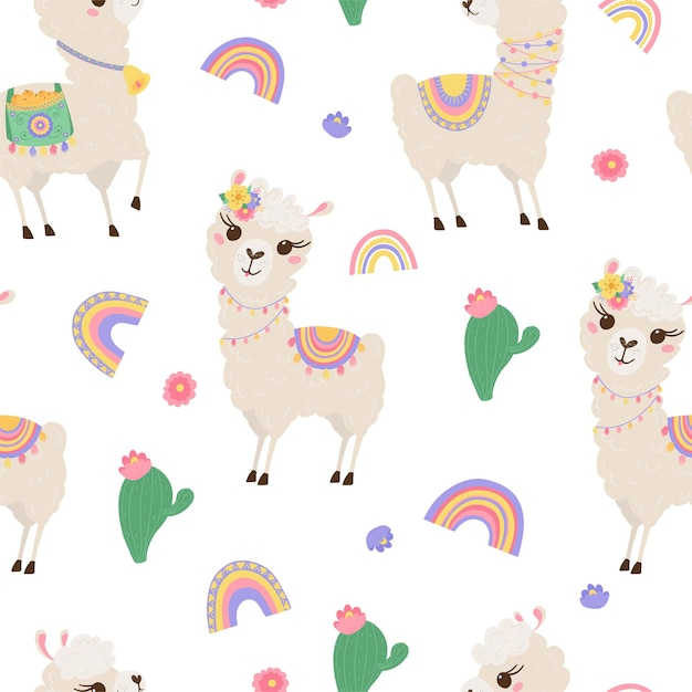 Seamless pattern with cute llamas, rainbow and cacti. background with funny alpaca babies for textiles, children's clothing, wallpaper. vector illustration Premium Vector
