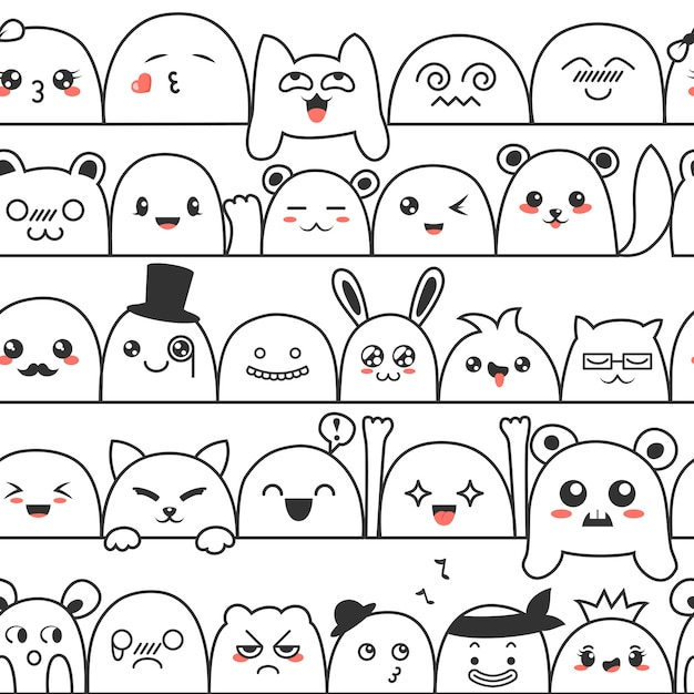 Seamless pattern with cute lovely kawaii monsters and animals. Premium Vector