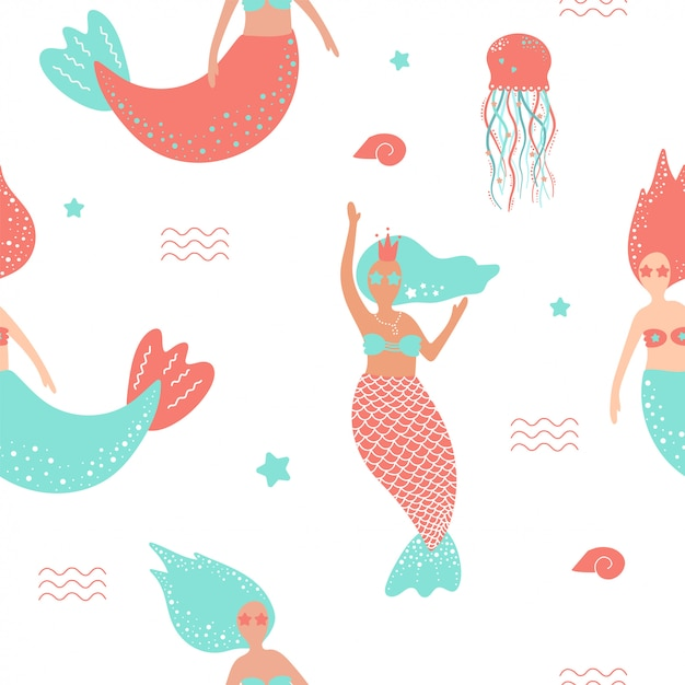 Seamless pattern with cute mermaids and jellyfish. Premium Vector