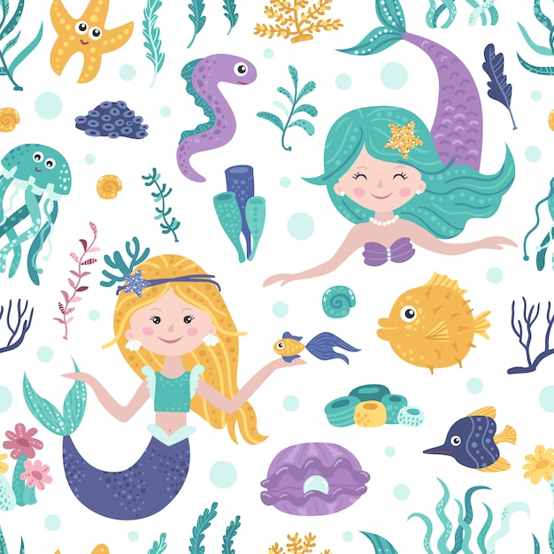 Seamless pattern with cute mermaids, seaweed and fishes Premium Vector