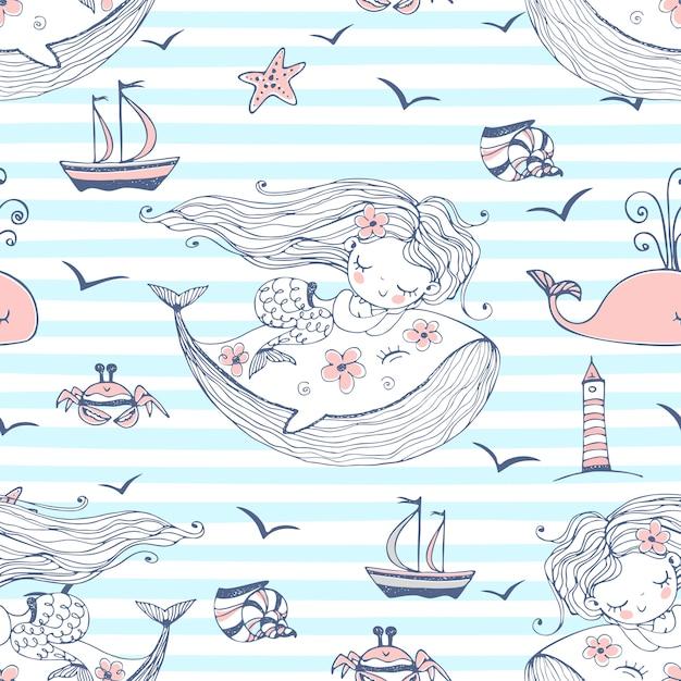 Безшовная картина с милыми русалками спать на китах на striped предпосылке. Premium векторы