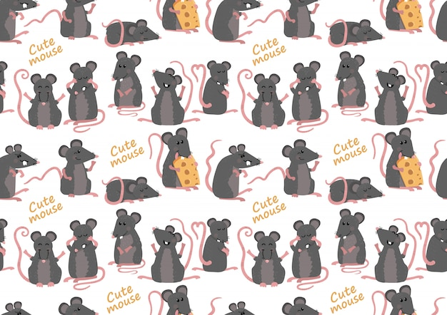 Seamless pattern with cute mice Premium Vector