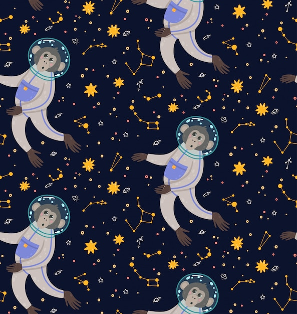 Seamless pattern with cute monkey in the space. ape in the cosmos surrounded by stars. Premium Vector