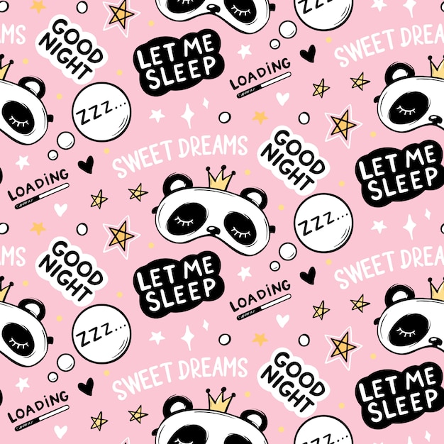 Seamless pattern with cute panda bear in crown sleep masks, good night lettering quote, stars and sweet dreams phrase. cartoon animals background, texture. Premium Vector